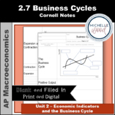AP Macro 2.7 Business Cycles Cornell Notes   Print and Digital
