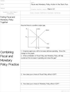 AP Macro - Fiscal and Monetary Policy Actions in the Short Run Cornell Notes