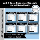 AP Macro - Unit 1 Basic Economic Concepts Cornell Notes Bundle