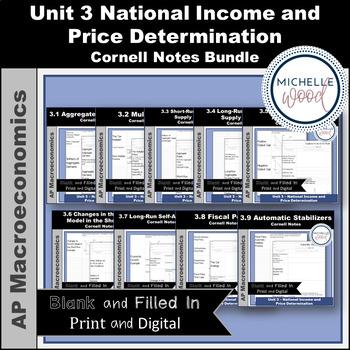 AP Macro - Unit 3 National Price Determination Cornell Notes Bundle