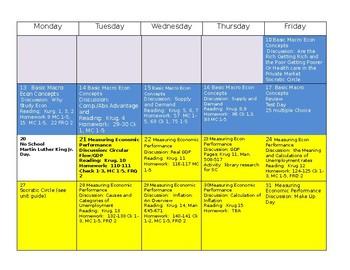 AP Macroeconomics Calendar/Planning Guide