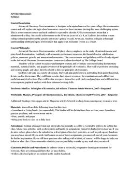 AP Macroeconomics Syllabus (AP Macro Syllabi)