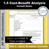 AP Micro 1.5 Cost-Benefit Analysis Cornell Notes | Print a