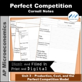 AP Micro 3.7 Perfect Competition Cornell Notes | Print and