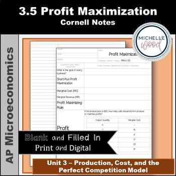 AP Micro - Profit Maximization Cornell Notes