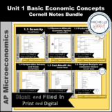 AP Micro - Unit 1 Basic Economic Concepts Cornell Notes Bundle