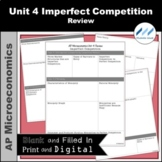 AP Micro - Unit 4 Imperfect Competition Review | Print and