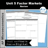 AP Micro - Unit 5 Factor Markets Review | Print and Digital