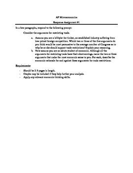 AP Microeconomics - Response Paper (Trade Restrictions)