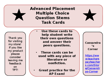 AP Multiple Choice Question Stem Task Cards
