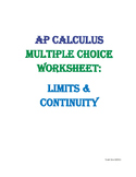 AP Multiple Choice Worksheet Limits & Continuity
