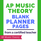 AP Music Theory Blank Teacher Planner Pages