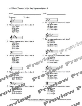AP Music Theory - Major and Minor Scale Assessment Pack