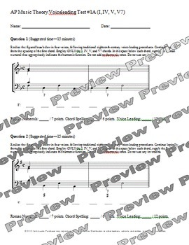 AP Music Theory - Voiceleading Test Pack