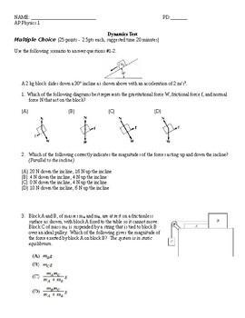 AP Physics 1 Dynamics (Forces) Test by PhunFizzixGuy   TpT