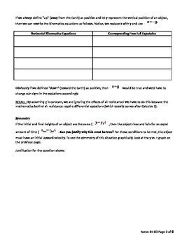 AP Physics 1 - Free Fall Motion student version