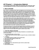 AP Physics 1 Introductory Material (set 0101 - Student Version)