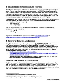 AP Physics 1 Introductory Material (set 0101 - Teacher Version)