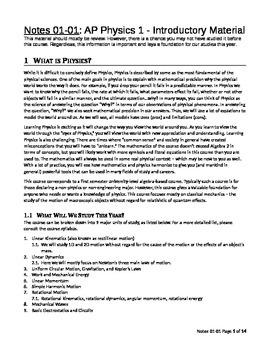 AP Physics 1 Introductory Material (set 0101 - Teacher Version)