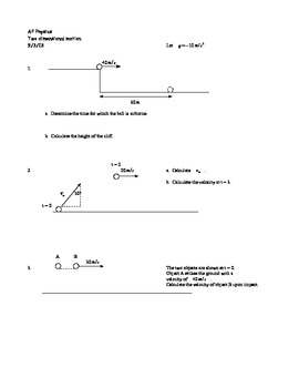 ap physics two dimensional motion worksheet by ryan yancey tpt. Black Bedroom Furniture Sets. Home Design Ideas
