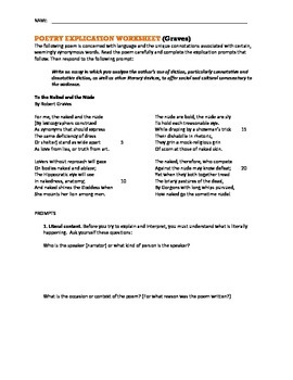 AP Poetry Analysis Worksheet -- To the Naked and the Nude