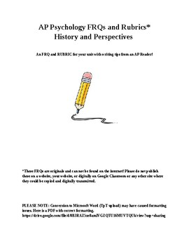 AP Psych FRQ & Rubric for History, Perspectives and Careers chapter (editable)