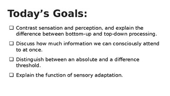 AP Psych - Introduction to Sensation: Top-Down/Bottom Up Lecture Slides PPT