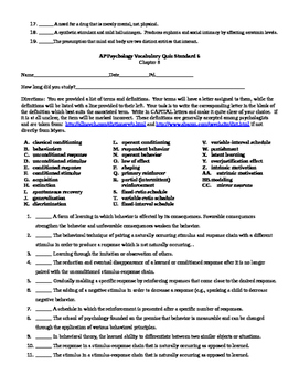 AP Psych. Vocabulary Quizzes by CollegeBoard Standard