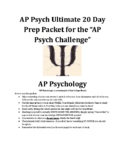 ULTIMATE AP Psychology 20 Day Exam Review Packet - Revised April 2021