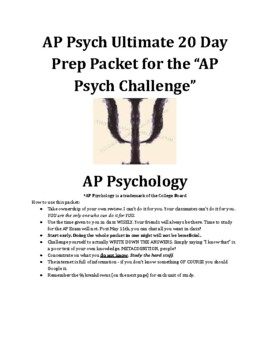 AP Psychology 17 Day Review Packet