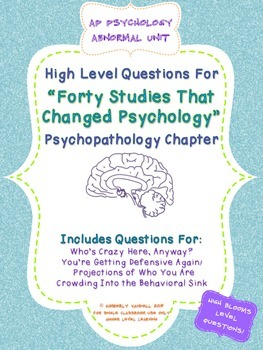 AP Psychology - 40 Studies Questions for Psychopathology Abnormal Chapter