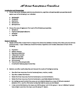 AP Psychology ALL UNITS/WHOLE YEAR Objectives, Vocab, Study ?s, FRQ. Common Core