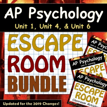 AP Psychology / AP Psych - ESCAPE ROOM BUNDLE - New Units 1, 4, & 6!