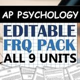 EDITABLE Free-Response Question (FRQ) Pack! AP Psychology