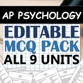 EDITABLE Multiple-Choice Unit Test Pack! - AP Psychology (