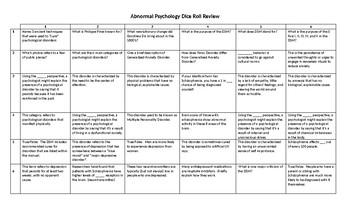 AP Psychology - Abnormal Psychology Unit Dice Roll Review