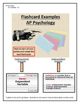 AP Psychology - Best Flashcards Assignment/Games, Research Methods