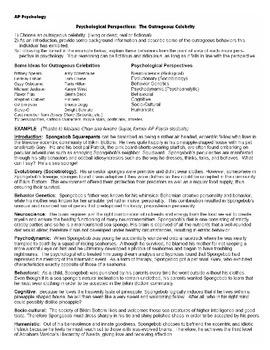 AP Psychology Celebrity Worksheet (Perspectives)