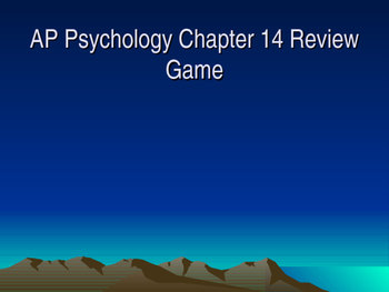 AP Psychology Chapter 14 Stress & Health Review Game with