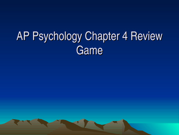 AP Psychology Chapter 4 Development Review Game with Answer Key