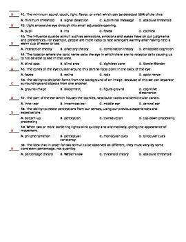 AP Psychology Chapter 6 Quiz - Sensation and Perception