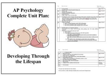 AP Psychology Complete Unit Plan Developing Through the Lifespan