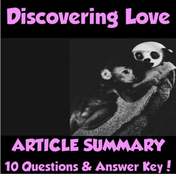 "AP Psychology- ""Discovering Love"" Article Summary (Harlow)"