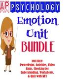 AP Psychology Emotion Unit BUNDLE Activities, Worksheet, Q