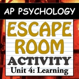 AP Psychology ESCAPE ROOM! Classroom Activity - Unit 4 - Learning