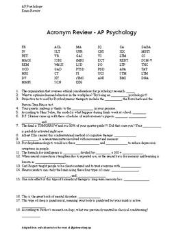 AP Psychology Exam or AP Psychology Final Exam Review