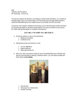 AP Psychology FRQ for Sensation and Perception (2 versions) w/ Rubrics