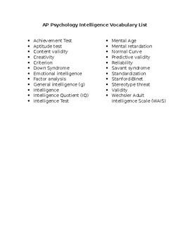 AP Psychology Intelligence Vocabulary List