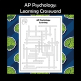 AP Psychology Learning Crossword Puzzle