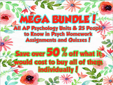 AP Psychology MEGA BUNDLE for ENTIRE YEAR- Definitions & Quizzes for ALL Units